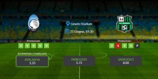 Consigli per Atalanta vs Sassuolo: domenica 21 giugno 2020 - Serie A