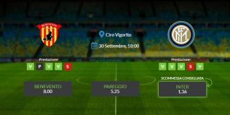Consigli per Benevento vs Inter: mercoledì 30 settembre 2020 - Serie A