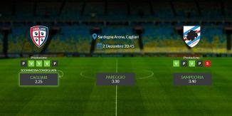 Consigli per Cagliari - Sampdoria: lunedì 02 decembre 2019 - Serie A
