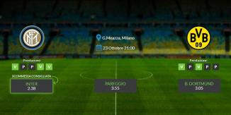Consigli per Inter - Borussia Dortmund: mercoledi 23 ottobre 2019 - Champions League