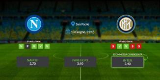 Consigli per Napoli vs Inter: sabato 13 giugno 2020 - Coppa Italia